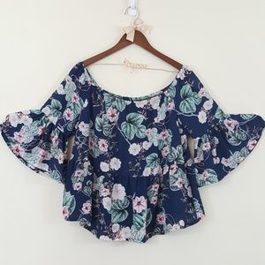 A.N.A Off The Shoulder Bell Sleeve Floral Top L